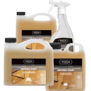 Woca natuurzeep spray, 1 liter, 2.5 liter en 5 liter verpakking